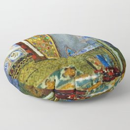 Near-Eastern Palace Interior Portrait by Louis Comfort Tiffany Floor Pillow