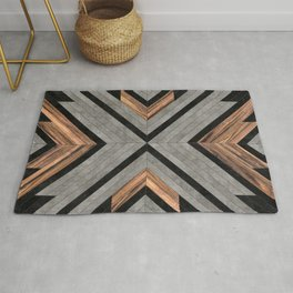 Urban Tribal Pattern No.2 - Concrete and Wood Rug