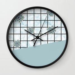 Succulents geometric composition - Mint Green Wall Clock