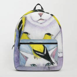 Cat Covered in Goldfinches Backpack