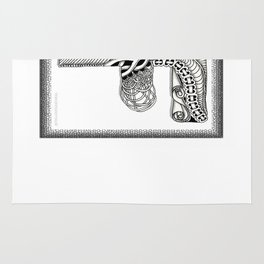 Zentangle F Monogram Alphabet Illustration Rug