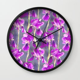Simple Iris Pattern in Warm Magenta Wall Clock