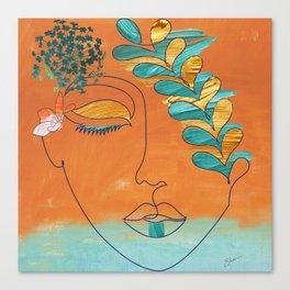 Monoline Woman Gilded Flowers Canvas Print