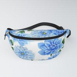 Blue Dahlia Floral Watercolor Art Fanny Pack