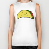 taco Biker Tanks featuring Sad Taco by Leah Flores