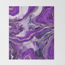 Liquid Marble Agate Glitter Glam #4 (Faux Glitter) #decor #art #society6 Throw Blanket