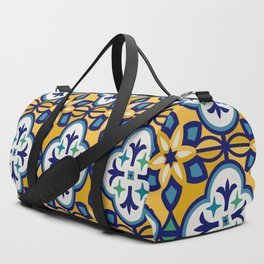 Yellow and Blue Moroccan Tile Duffle Bag