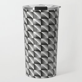 Monochrome woven pattern of metal squares and black rhombs with volumetric triangles. Travel Mug
