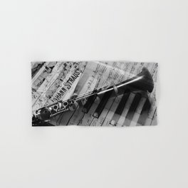 clarinet and piano - black and white Hand & Bath Towel