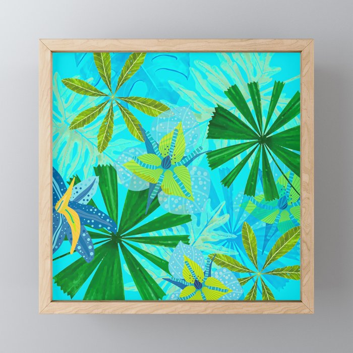My blue abstract Aloha Tropical Jungle Garden Framed Mini Art Print