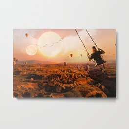 Swinging with Balloons by GEN Z Metal Print