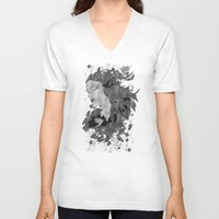 ashton irwin V-neck T-shirts featuring Cosmic dreams (B&W) by Viviana Gonzalez