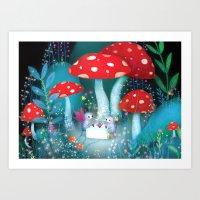 fireflies Art Prints featuring Fireflies by Lisa Evans