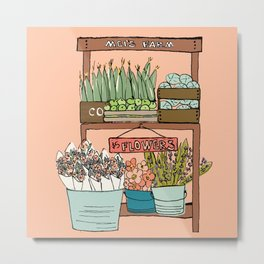 Mei's Farm Stand on Salmon Pink Metal Print