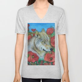 Wolf and Red Poppies Unisex V-Neck