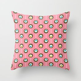 Pink Flamingo Dots Throw Pillow