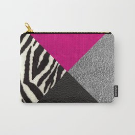 Zebra Print & Textured Triangles Carry-All Pouch