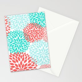 Coral Teal Dahlia Bouquet Stationery Cards
