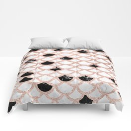 Girly rose gold black white marble mermaid scallop pattern Comforters