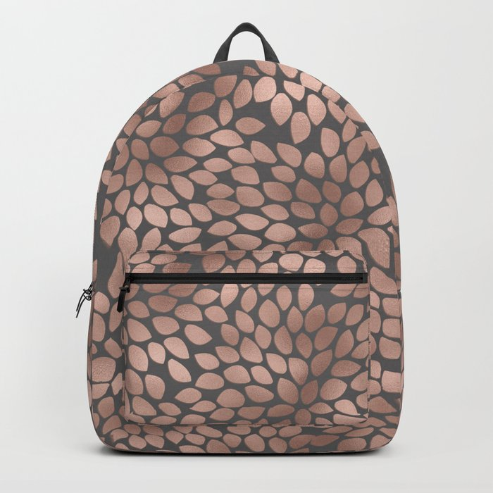 Rosegold flowers- abstract floral elegant pattern on grey background Backpack