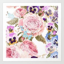 Spring flowers with mandalas Art Print