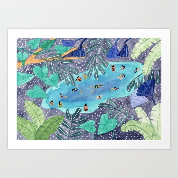 Midnight jungle pool Kunstdrucke