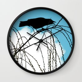 Cawing Crow Wall Clock