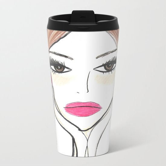 Another girl with the foil earrings Metal Travel Mug
