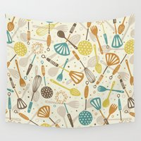 kitchen Wall Tapestries featuring Kitchen Utensils by Anna Deegan
