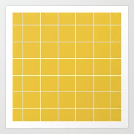 White Grid - Yellow BG Art Print