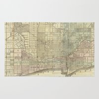 chicago map Area & Throw Rugs featuring Vintage Map of Chicago (1857) by BravuraMedia
