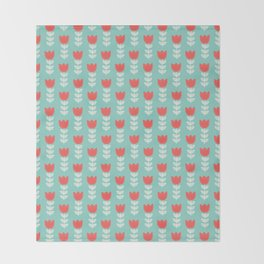 Red white vintage green hand painted tulips Throw Blanket
