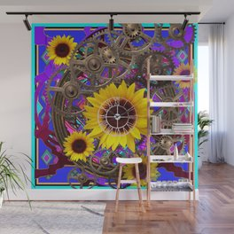 CONTEMPORARY  YELLOW SUNFLOWER CLOCK PURPLE ARTWORKS Wall Mural