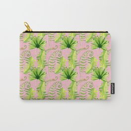 Pastel pink green hand painted tropical leaves pattern Carry-All Pouch