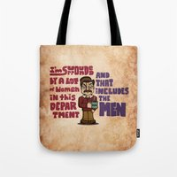 ron swanson Tote Bags featuring Ron Swanson by maykel nunes