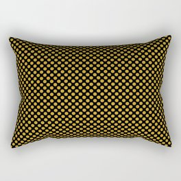 Black and Nugget Gold Polka Dots Rectangular Pillow