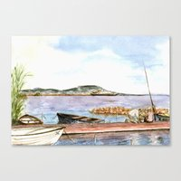 fishing Canvas Prints featuring Fishing by Vargamari