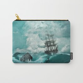 Storm Sea Ship Shipwreck Ocean Blue Carry-All Pouch