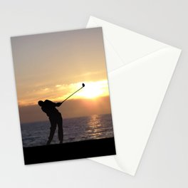 Playing Golf At Sunset Stationery Cards