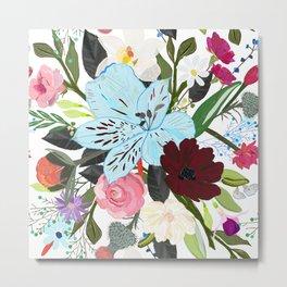 Alstroemerias, Fucisia, Roses, Vanilla, Cosmos Flower. Floral Colorful Bouquet Pattern Metal Print