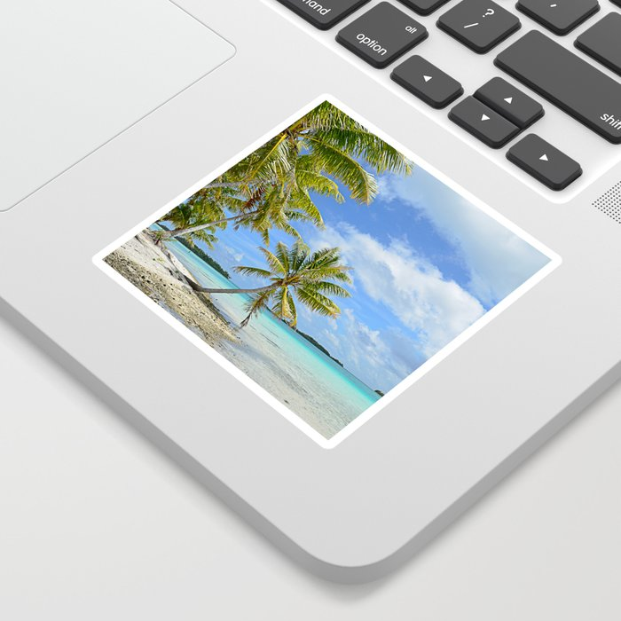 Tropical palm beach in the Pacific Sticker