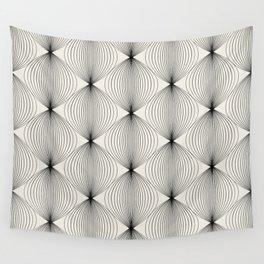 Geometric Orb Pattern - Black Wall Tapestry