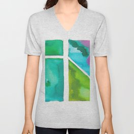 180811 Watercolor Block Swatches 9 | Colorful Abstract |Geometrical Art Unisex V-Neck