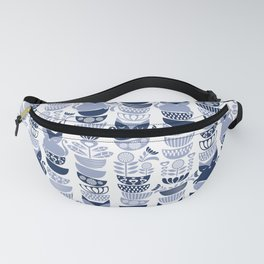 Swedish folk cats III // white background pale and navy blue kitties & bowls Fanny Pack