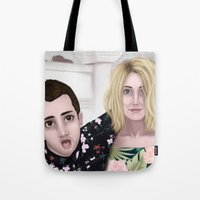 jenna kutcher Tote Bags featuring Tyler and Jenna by Greenteaelf
