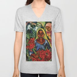 African American portrait painting 'The Flower Market' by E. Stern Unisex V-Neck