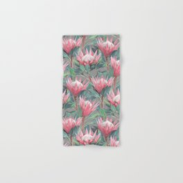 Pink Painted King Proteas on grey Hand & Bath Towel