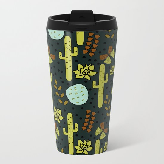 Cacti and butterflies at night Metal Travel Mug