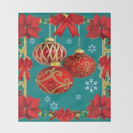 TEAL COLOR RED CHRISTMAS  ORNAMENTS &  POINSETTIAS FLOWER Throw Blanket