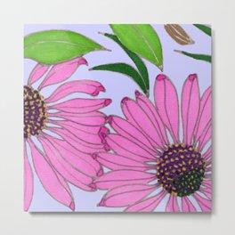 Echinacea on Lavender Metal Print